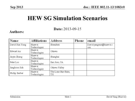 Doc.: IEEE 802.11-13/1083r0 SubmissionSlide 1 HEW SG Simulation Scenarios Date: 2013-09-15 Authors: David Yang (Huawei) Sep 2013.