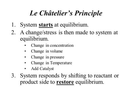 le chateliers principle and chemical equilibrium
