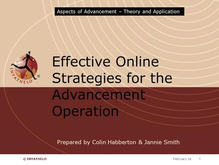 February 16© INYATHELO1 Effective Online Strategies for the Advancement Operation Aspects of Advancement – Theory and Application Prepared by Colin Habberton.
