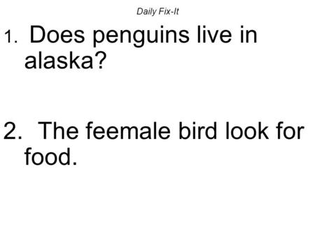 Daily Fix-It 1. Does penguins live in alaska? 2. The feemale bird look for food.