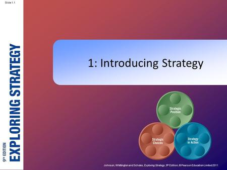 Johnson, Whittington and Scholes, Exploring Strategy, 9 th Edition, © Pearson Education Limited 2011 Slide 1.1 1: Introducing Strategy.