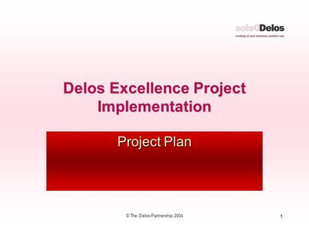 1 © The Delos Partnership 2004 Delos Excellence Project Implementation Project Plan.