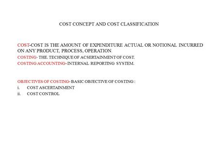 cost concept and classification pdf