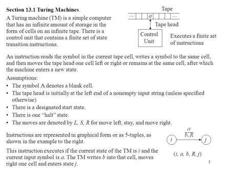 1 Section 13.1 Turing Machines A Turing machine (TM) is a simple computer that has an infinite amount of storage in the form of cells on an infinite tape.
