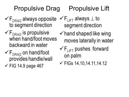 Propulsive Drag Propulsive Lift F DRAG always opposite to segment direction F DRAG is propulsive when hand/foot moves backward in water F DRAG on hand/foot.