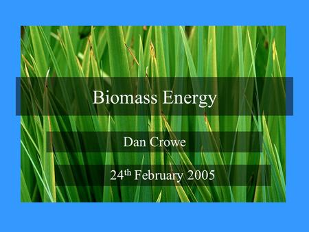 Biomass Energy Dan Crowe 24 th February 2005. Potential uses for Biomass Electricity generation Co-firing in power stations Space and water heating Transport.