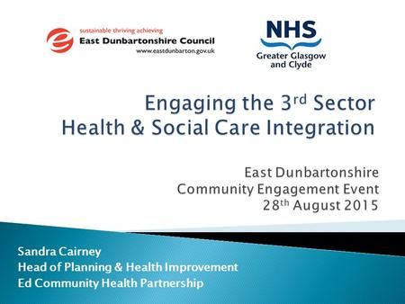 Engaging the 3rd Sector Health & Social Care Integration