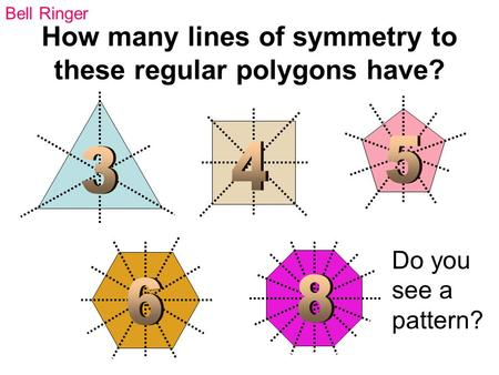 How many lines of symmetry to these regular polygons have?