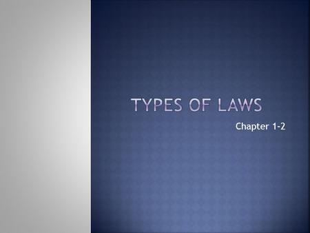 Chapter 1-2.  Laws of primitive societies  Laws of organized religion  Roman law  English common law.