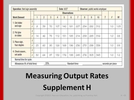 Measuring Output Rates Supplement H Copyright ©2013 Pearson Education, Inc. publishing as Prentice Hall H - 01.