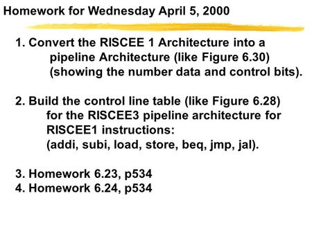 1. Convert the RISCEE 1 Architecture into a pipeline Architecture (like Figure 6.30) (showing the number data and control bits). 2. Build the control line.