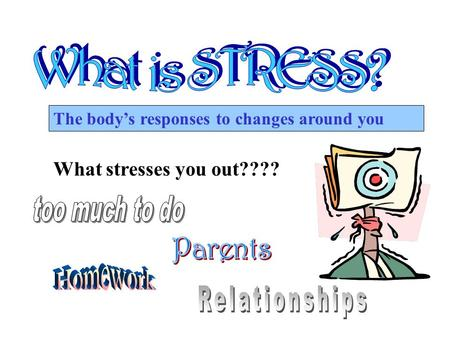 The body's responses to changes around you What stresses you out????
