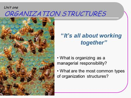 "Unit one ORGANIZATION STRUCTURES ""It's all about working together"" What is organizing as a managerial responsibility? What are the most common types of."