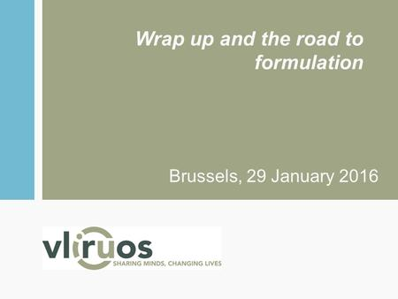 Wrap up and the road to formulation Brussels, 29 January 2016.