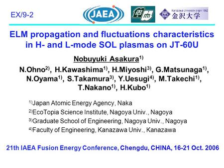 ELM propagation and fluctuations characteristics in H- and L-mode SOL plasmas on JT-60U Nobuyuki Asakura 1) N.Ohno 2), H.Kawashima 1), H.Miyoshi 3), G.Matsunaga.