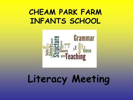 CHEAM PARK FARM INFANTS SCHOOL Literacy Meeting. The Department for Education brought out a new National Curriculum for English which became statutory.