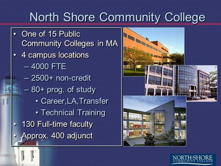 North Shore Community College One of 15 Public Community Colleges in MA 4 campus locations –4000 FTE –2500+ non-credit –80+ prog. of study Career,LA,Transfer.