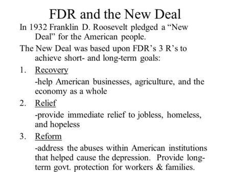 a study of the new deal by franklin d roosevelt Franklin d roosevelt: campaigns and mixed opinion about the possible presidential candidacy of franklin d roosevelt a new deal for the.