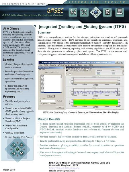 March 2004 At A Glance ITPS is a flexible and complete trending and plotting solution which provides user access to an entire mission full-resolution spacecraft.