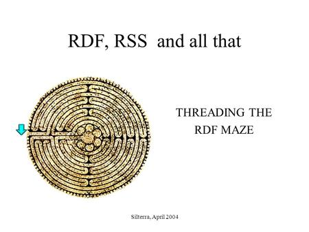Silterra, April 2004 RDF, RSS and all that THREADING THE RDF MAZE.