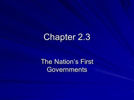 Chapter 2.3 The Nation's First Governments. Early State Constitutions In January, 1776, New Hampshire was the first colony to organize as a state and.