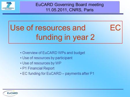 Use of resources and EC funding in year 2 EuCARD Governing Board meeting 11.05.2011, CNRS, Paris Overview of EuCARD WPs and budget Use of resources by.