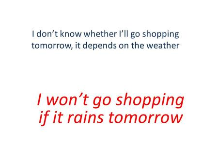 I don't know whether I'll go shopping tomorrow, it depends on the weather I won't go shopping if it rains tomorrow.