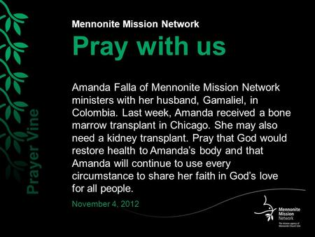Mennonite Mission Network Pray with us Amanda Falla of Mennonite Mission Network ministers with her husband, Gamaliel, in Colombia. Last week, Amanda received.