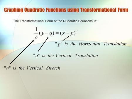 Graphing Quadratic Functions using Transformational Form The Transformational Form of the Quadratic Equations is: