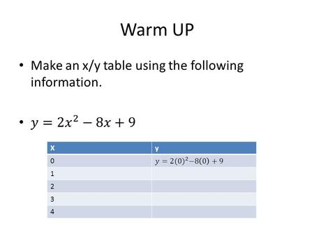 Warm UP Xy 0 1 2 3 4. 5.1 graph quadratics Objective: To graph quadratic functions. Where do you find these functions?