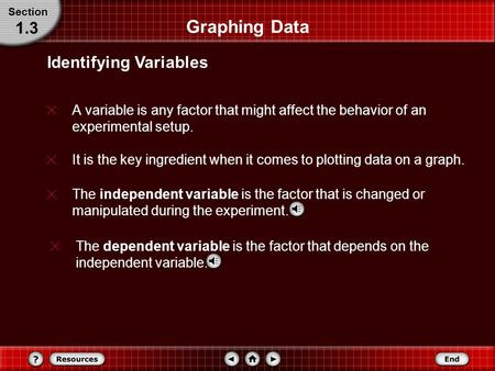 Graphing Data A variable is any factor that might affect the behavior of an experimental setup. Identifying Variables Section 1.3 The independent variable.