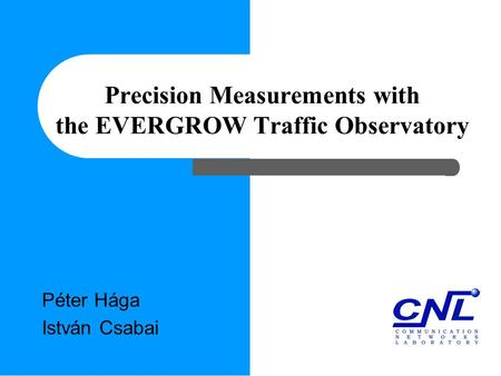 Precision Measurements with the EVERGROW Traffic Observatory Péter Hága István Csabai.
