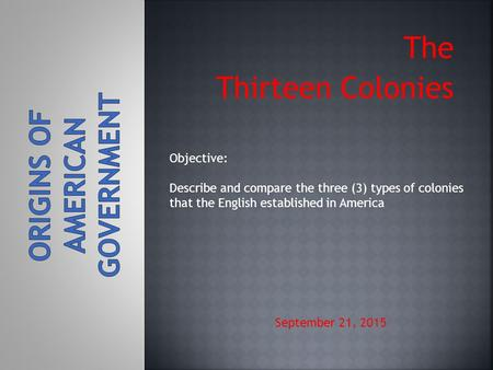 The Thirteen Colonies September 21, 2015 Objective: Describe and compare the three (3) types of colonies that the English established in America.