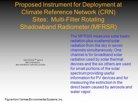 Proposed Instrument for Deployment at Climate Reference Network (CRN) Sites: Multi-Filter Rotating Shadowband Radiometer (MFRSR) The MFRSR measures solar.