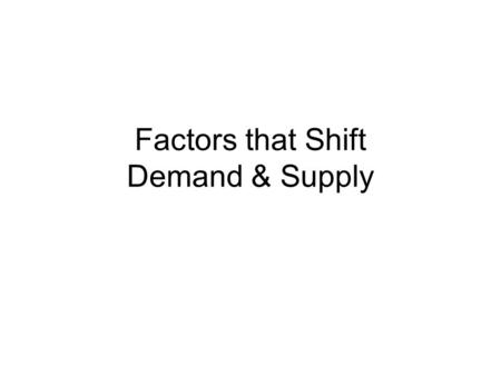 Factors that Shift Demand & Supply. Variables that influence buyers 1 2 VariableA Change in This Variable... Price of the good itself Income Prices of.
