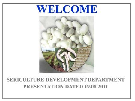 WELCOME SERICULTURE DEVELOPMENT DEPARTMENT PRESENTATION DATED 19.08.2011.