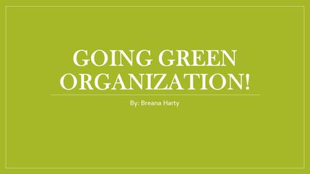 GOING GREEN ORGANIZATION! By: Breana Harty. Situation Small space Hard to employee more people Some workers don't have office space to work in Bad decoration.