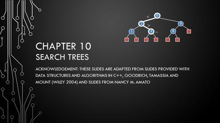 CHAPTER 10 SEARCH TREES ACKNOWLEDGEMENT: THESE SLIDES ARE ADAPTED FROM SLIDES PROVIDED WITH DATA STRUCTURES AND ALGORITHMS IN C++, GOODRICH, TAMASSIA AND.