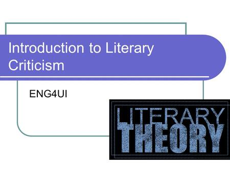 Introduction to Literary Criticism ENG4UI. Can you read this man's mind?