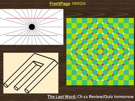 FrontPage: NNIGN The Last Word: Ch 12 Review/Quiz tomorrow.