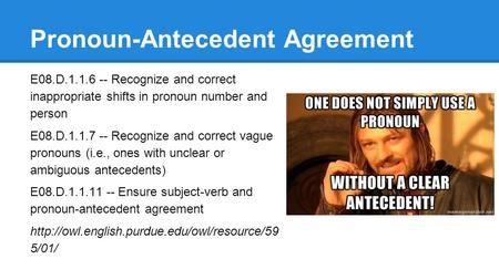 Pronoun-Antecedent Agreement E08.D.1.1.6 -- Recognize and correct inappropriate shifts in pronoun number and person E08.D.1.1.7 -- Recognize and correct.