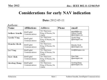 Submission doc.: IEEE 802.11-12/0615r0 May 2012 Sudheer Grandhi, InterDigital CommunicationsSlide 1 Considerations for early NAV indication Date: 2012-05-11.