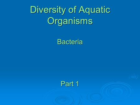 Diversity of Aquatic Organisms Bacteria Part 1. Size Categories of Plankton Bacteria and Archaea (0.1- 2.0 um) Small protists, cyanobacteria (0.5 - 10.