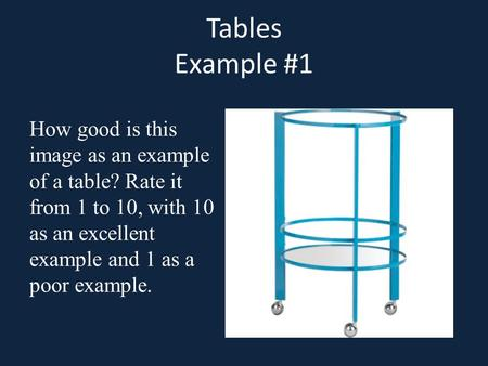 Tables Example #1 How good is this image as an example of a table? Rate it from 1 to 10, with 10 as an excellent example and 1 as a poor example.