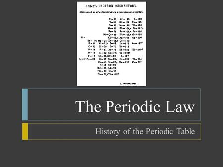 The Periodic Law History of the Periodic Table.  Objectives  Explain the roles of Mendeleev and Moseley in the development of the periodic table  Describe.