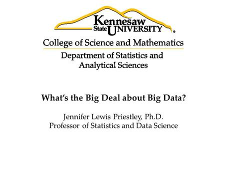 What's the Big Deal about Big Data? Jennifer Lewis Priestley, Ph.D. Professor of Statistics and Data Science.