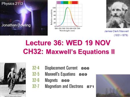 Lecture 36: WED 19 NOV CH32: Maxwell's Equations II James Clerk Maxwell (1831-1879) Physics 2113 Jonathan Dowling.