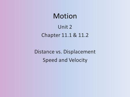 Motion Unit 2 Chapter 11.1 & 11.2 Distance vs. Displacement Speed and Velocity.