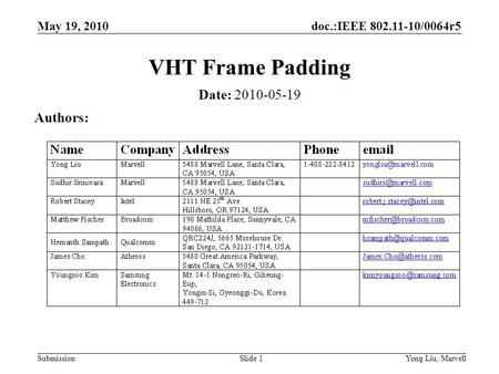 Doc.:IEEE 802.11-10/0064r5 Submission May 19, 2010 Yong Liu, MarvellSlide 1 VHT Frame Padding Date: 2010-05-19 Authors: