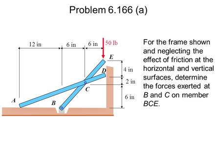 Problem 6.166 (a) For the frame shown and neglecting the effect of friction at the horizontal and vertical surfaces, determine the forces exerted at B.